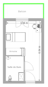 plan de l'appartement T1'